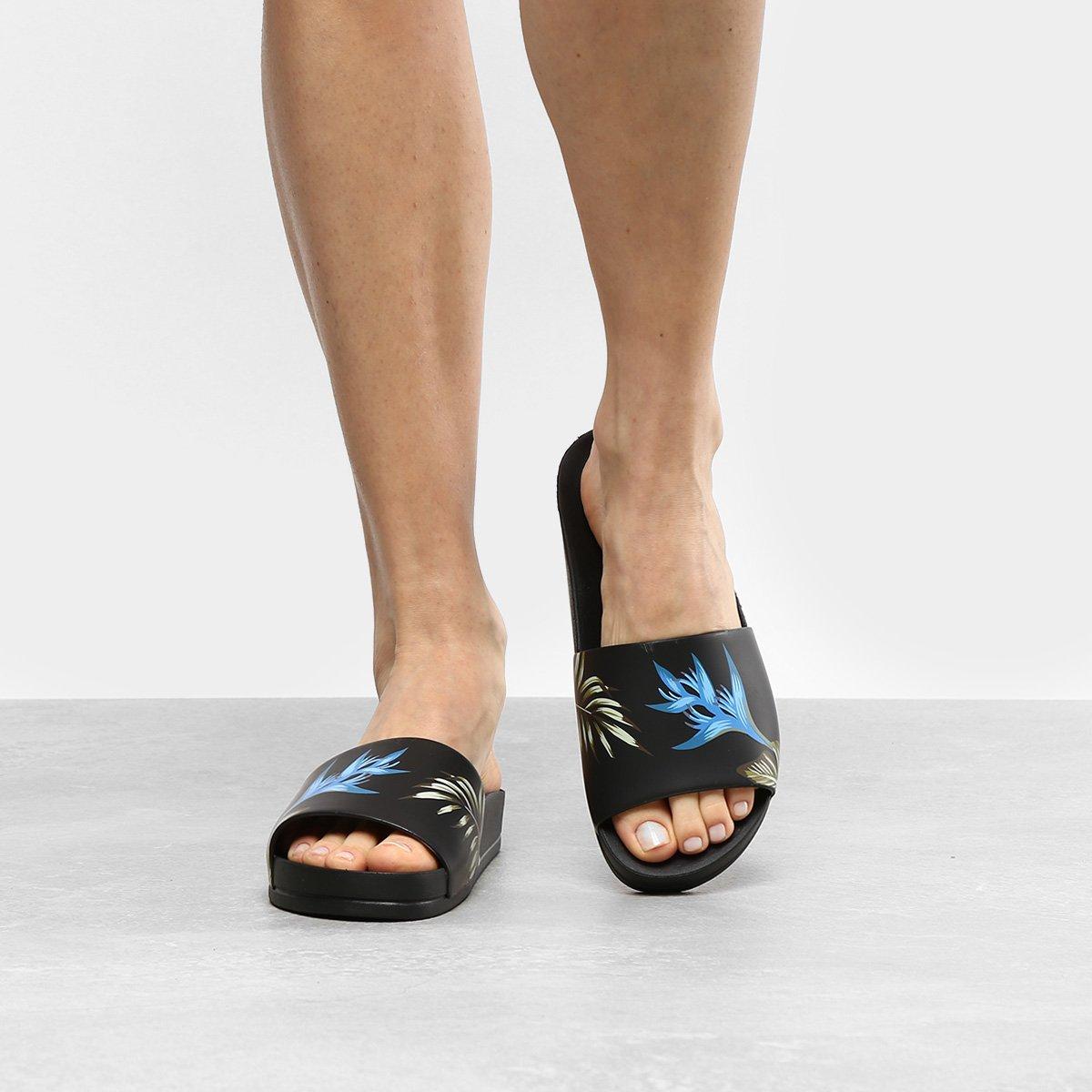 b3325f6e6b Chinelo Azaleia Slide Estampa Tropical Feminino - Preto e Azul