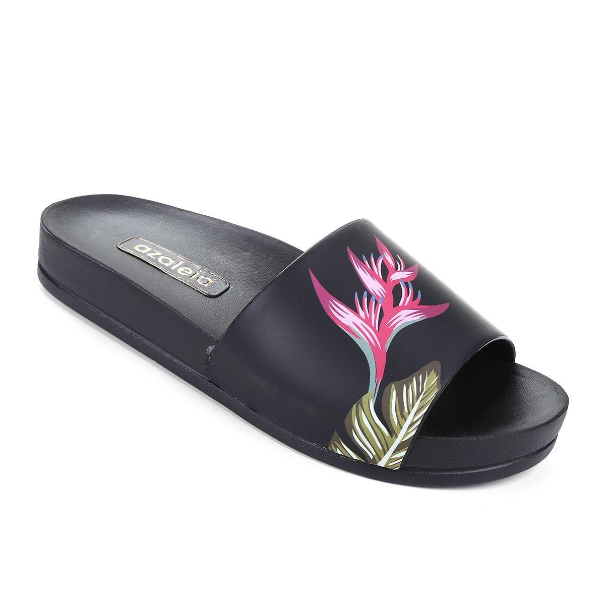 e76f6dd88f Chinelo Azaleia Slide Estampa Tropical Feminino - Preto e Pink