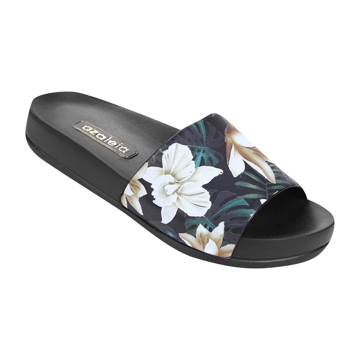 0e25469b03 Chinelo Azaleia Slide Floral Feminino - Preto