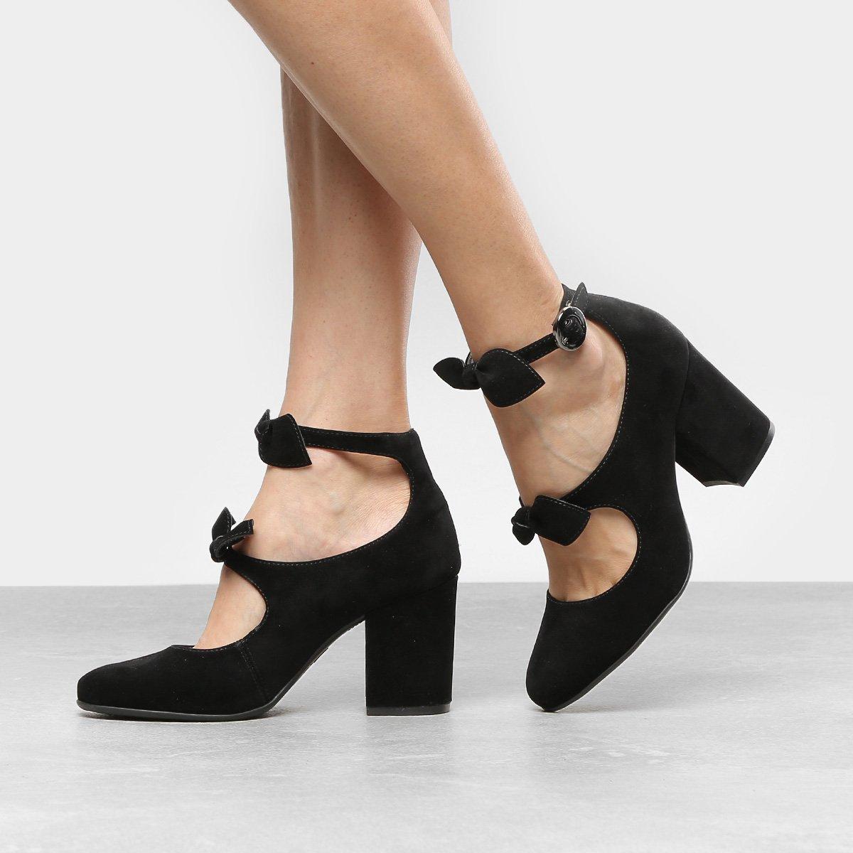 6740a3712 Sapato Azaleia Salto Estruturado E Laços - Preto | Azaleia